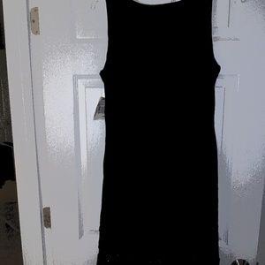 New Ladies Sexy Tiered Hem Black Dress (16W)